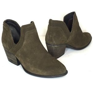 STEVE MADDEN Aliee Olive Suede Cutout Booties 7